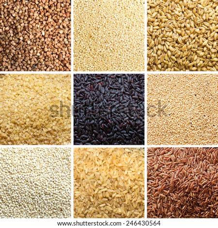 Collage of 9 cereals: buckwheat, millet, spelt, bulgur, black rice, amaranth, quinoa, brown rice, red rice - stock photo