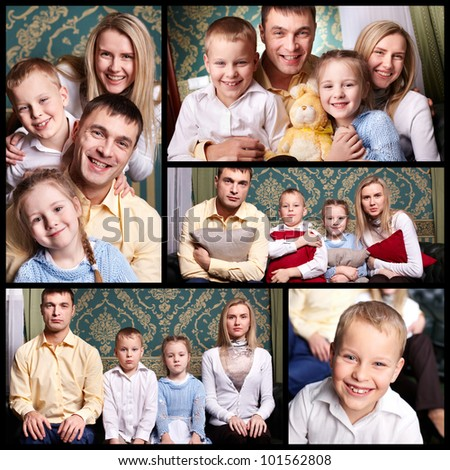 Collage of cheerful family looking at camera - stock photo