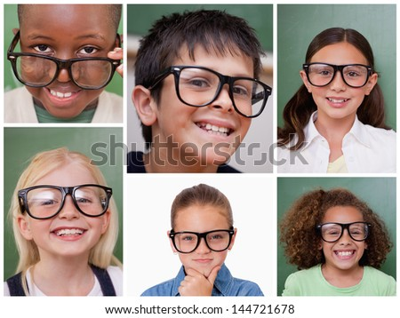 Collage of cheerful pupils wearing reading glasses