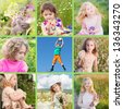 collage of children outdoor - stock photo