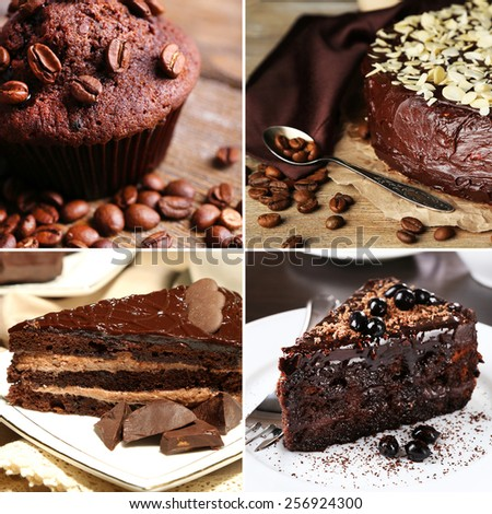 Collage of chocolate desserts - stock photo
