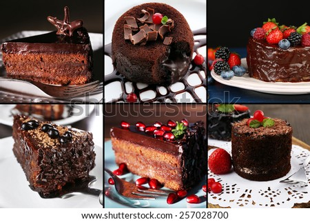 Collage of chocolate desserts - stock photo