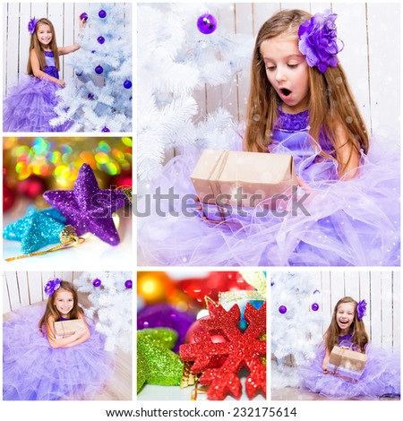 collage of Christmas photo with a little girl - stock photo