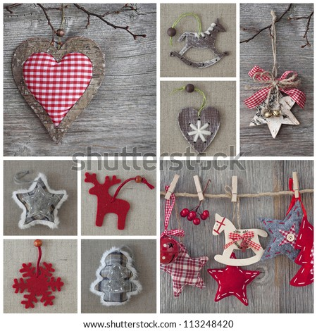 Collage of christmas photos over grey wood background - stock photo