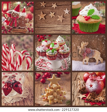 Collage of christmas sweets on a wooden background - stock photo