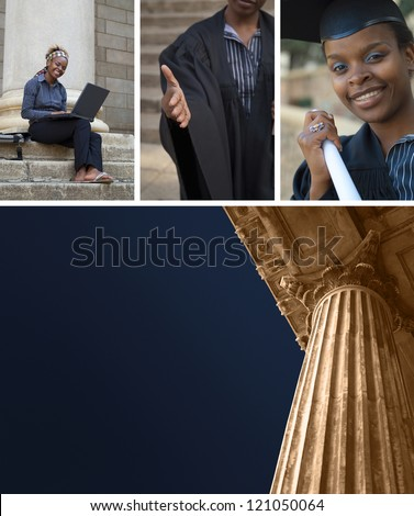 Collage of classic greek style university college eduction, law court or politics building pillar with African American graduate - stock photo