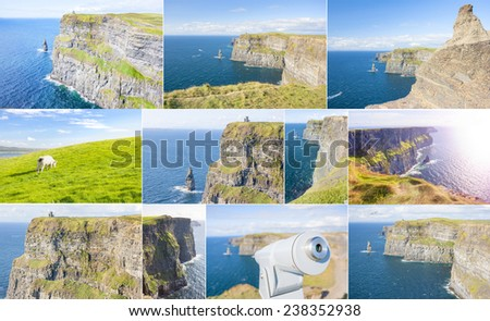 Collage of Cliffs of Moher in County Clare, Ireland  - stock photo