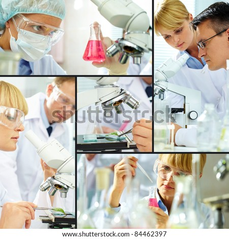 Collage of clinicians studying new substance in laboratory - stock photo