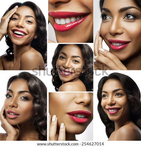 collage of close-up  portraits of a beautiful black woman with perfect pure healthy  skin and red lips on a white background - stock photo
