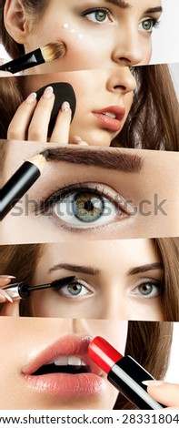 Collage of close-ups with the application of make-up - stock photo