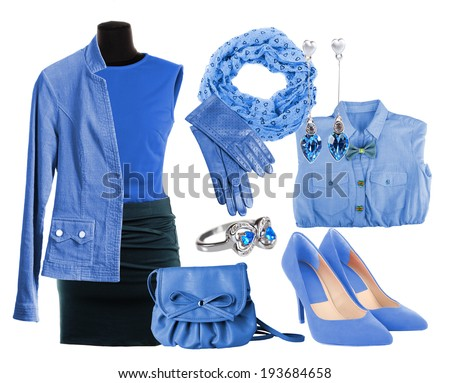 Collage of clothes in blue colors isolated on white - stock photo