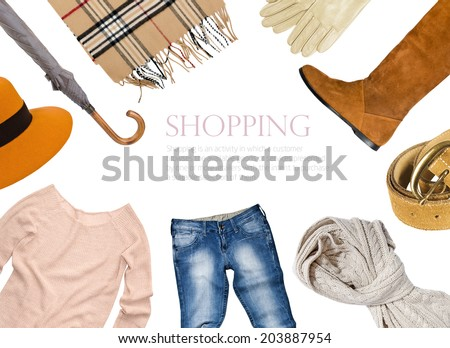 collage of clothing in warm color scheme - stock photo