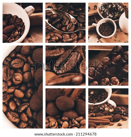 collage of coffee beans and chocolate truffle - stock photo