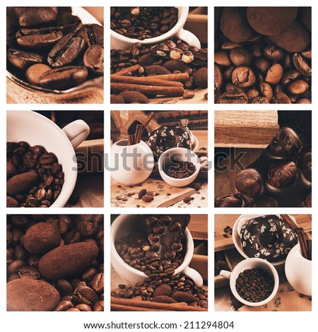 collage of coffee beans and truffles in cup - stock photo
