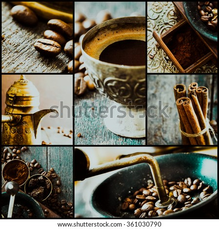 Collage of coffee details. Coffee antique grinder, coffee beans and cup of coffee. Turkish traditional coffee - stock photo