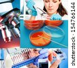 Collage of collection of medical and chemical research - stock photo