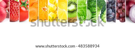 Collage of color fruits and vegetables. Fresh food. Concept