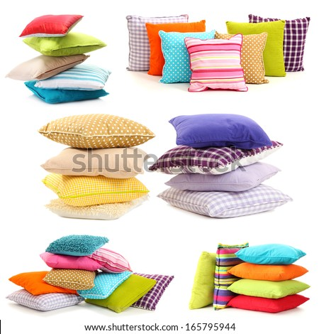 Collage of color pillows - stock photo