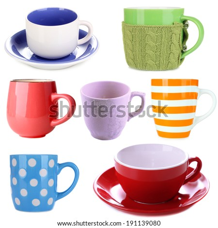 Collage of colorful cups isolated on white - stock photo
