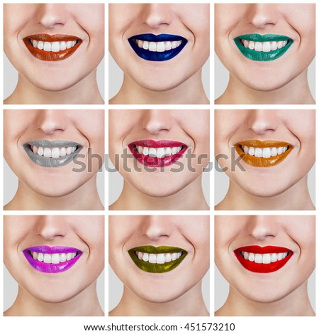 Collage of colorful female lips