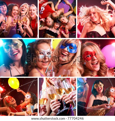 collage of colorful fun photos from the party of young and beautiful girls - stock photo
