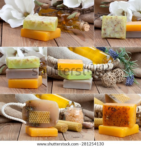 collage of colorful handmade soap bars, on wooden background - stock photo