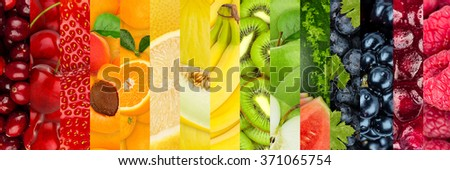 collage of colorful healthy fruits - stock photo