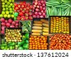 Collage of colorful vegetables and fruits grocer basket.  - stock