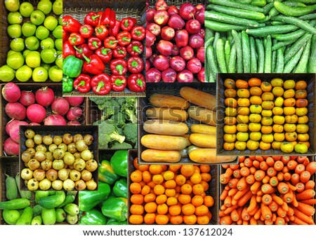 Collage of colorful vegetables and fruits grocer basket.  - stock photo