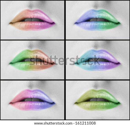 Collage of colorful woman lips - stock photo
