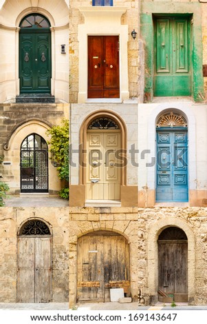 collage of 9 colourful colored front doors to houses from Malta