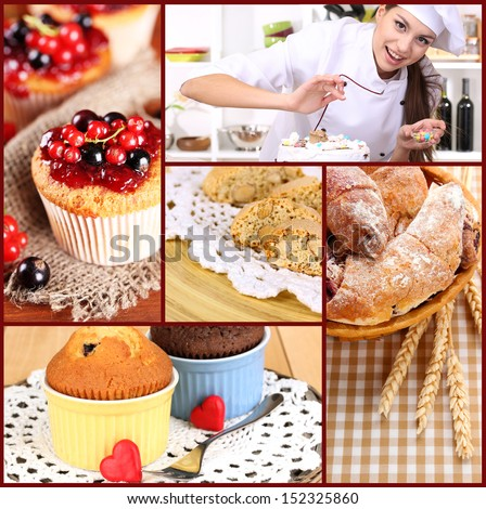 Collage of confectionery theme consisting of delicious pastries and cook - stock photo
