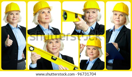 Collage of confident aged female architect - stock photo