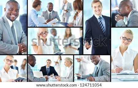 Collage of confident business partners at meetings
