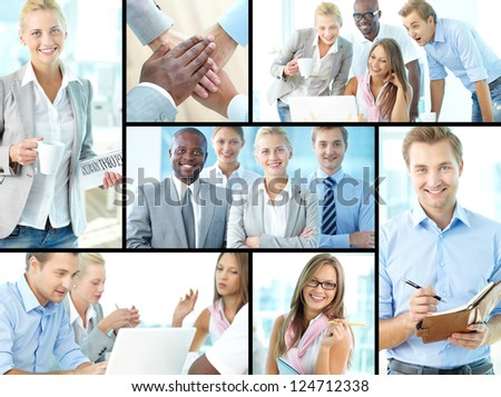 Collage of confident business partners in office - stock photo
