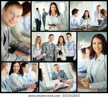 Collage of confident business people in different situations - stock photo