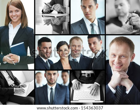 Collage of confident businesspeople in formalwear