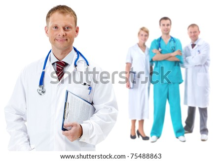 Collage of confident clinicians with handsome doctor in front - stock photo