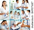 Collage of confident doctors and their patients in hospital - stock photo