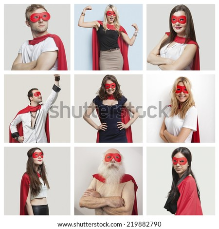 Collage of confident people wearing superhero costumes - stock photo