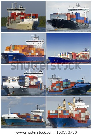 Collage of container vessels - stock photo