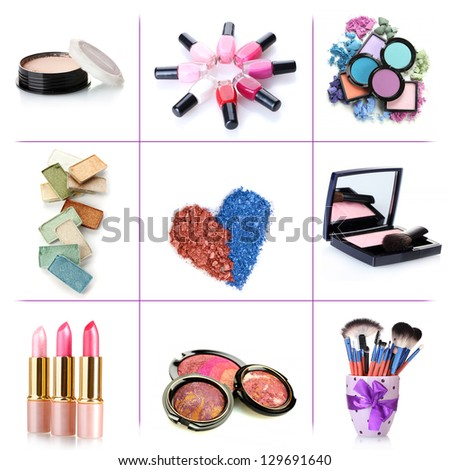 Collage of cosmetics for professional make-up isolated on white - stock photo