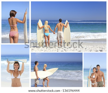 Collage of couple on the beach with surfboard - stock photo