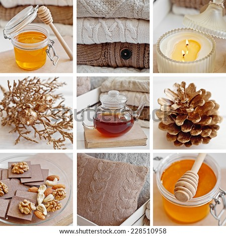 Collage of Cozy wool winter accessory. Warm sweaters, candle, tea and cone - stock photo