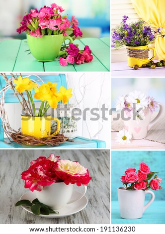 Collage of cups with flowers - stock photo