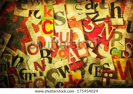 collage of cut out letters from newspapers with decorative vintage style grunge texture