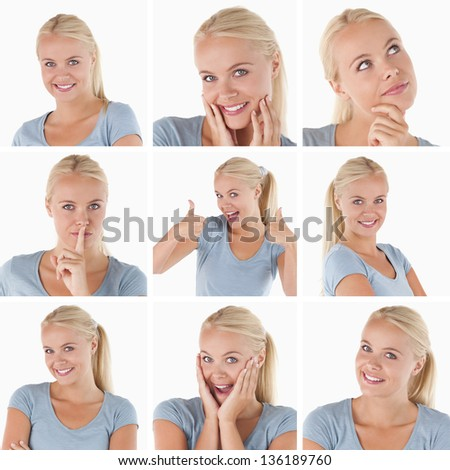 Collage of cute blonde woman gesturing on white background - stock photo