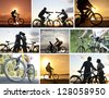 collage of cyclists on the sunset sky by the ocean and at the park - stock photo