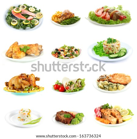 Collage of delicious dishes isolated on white - stock photo