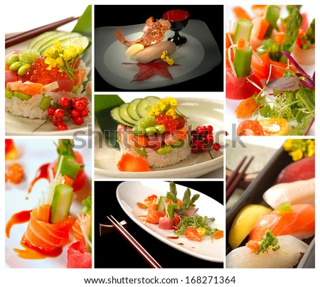 Collage of delicious fresh Sushi and Asian food - stock photo